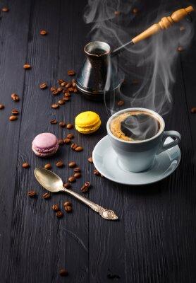 Fototapete Tasse Kaffee mit Getreide und cezve