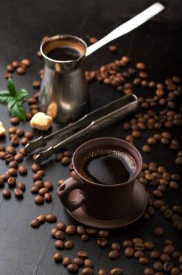 Fototapete Tasse Kaffee und Kaffeebohnen