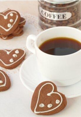 Fototapete Tasse Kaffee und Schokolade Cookies