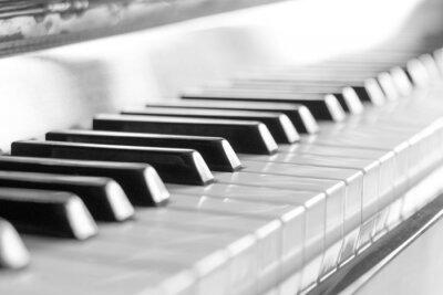 Fototapete Tastatur des Klaviers. Schwarzweiss-Bild mit selektiven Fokus