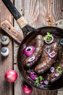 Fototapete Tasty Blutwurst mit Petersilie und Zwiebel