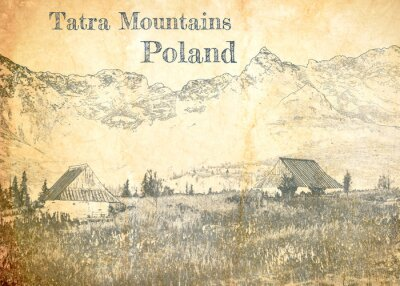 Fototapete Tatra mountain in Poland, sketch on old paper