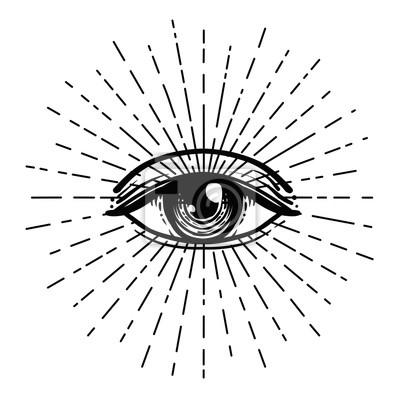 Fototapete Tattoo Blitz. Auge der Vorsehung. Freimaurersymbol. Alles sehende Auge innerhalb der Dreieckspyramide. Neue Weltordnung. Heilige Geometrie, Religion, Spiritualität, Okkultismus. Isolierte Abbildung.