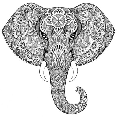 Fototapete Tattoo elephant with patterns and ornaments