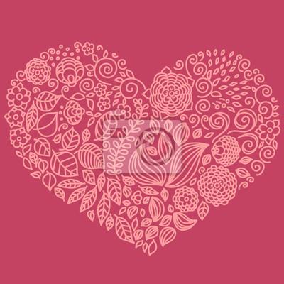 Tattoo floral doodle Vektor-Elemente in Herzform gesetzt.