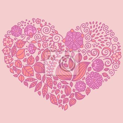 Tattoo floral doodle Vektor-Elemente in Herzform gesetzt