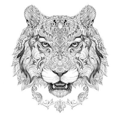 Fototapete Tattoo, graphics head of a tiger