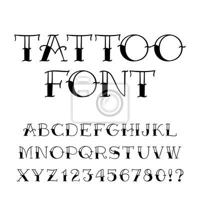 Tattoo Schriftart Vintage Stil Alphabet Buchstaben Und Zahlen
