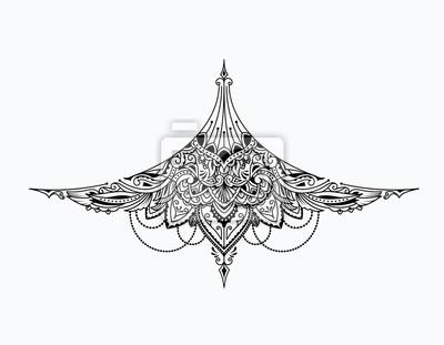 Tattoo Unter Brust Mädchen Vintage Design Vektor Illustration