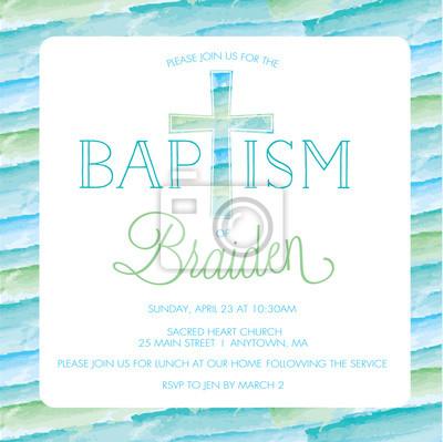 Taufe Karte.Fototapete Taufe Taufeinladungs Karte Laden Sie Schablone Junge Aquarell Kreuz