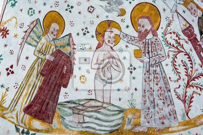 Taufe Von Jesus Im Jordan Ein Gotisches Fresko Fototapete