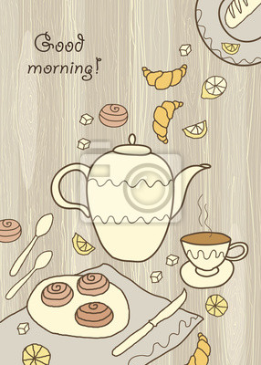 Tea, coffee and sweets on wooden background