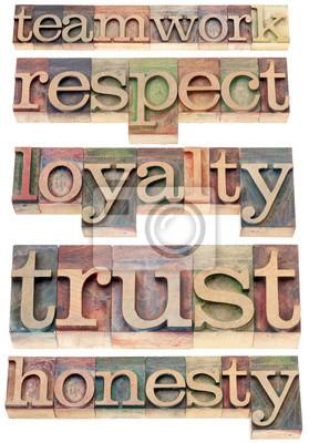 Teamarbeit, Respekt, Loyalität, Vertrauen, Ehrlichkeit