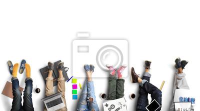 Fototapete Teamwork der Mitarbeiter, kreative und freundliche Atmosphäre