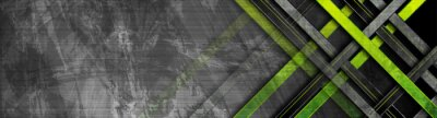 Fototapete Tech green stripes on abstract grey grunge corporate header banner. Vector geometric background