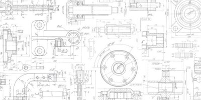 Fototapete Technical drawing background .Mechanical Engineering drawing.