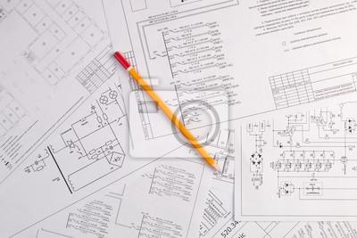 Technik und elektronik. elektrotechnische zeichnungen druck mit ...