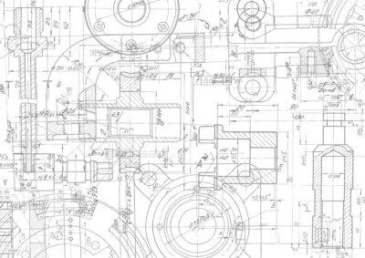 Fototapete Technischer Zeichnungshintergrund. Maschinenbauzeichnung