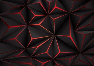Fototapete Technologie-Designhintergrund-Vektorillustration des abstrakten schwarzen Polygons rote helle futuristic.