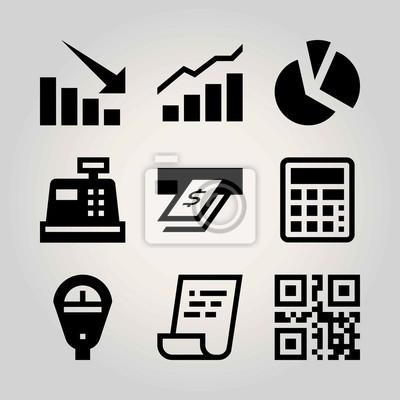 Technologie Vektor Icon Set Rechnung Qr Code Pfeil Und