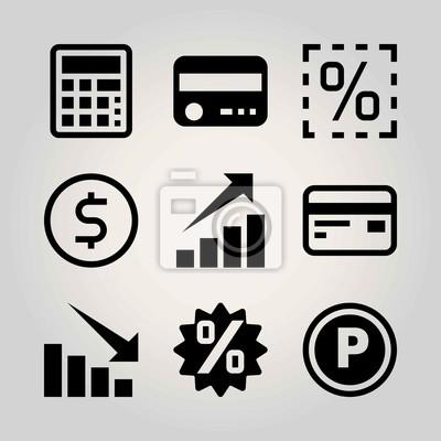 Technologie Vektor Icon Set Verlust Taschenrechner Dollar