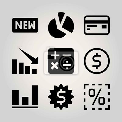 Technologie Vektor Icon Set Zeichen Diagramm Taschenrechner
