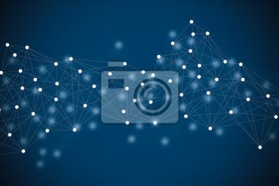 Fototapete technology background blue white dot line