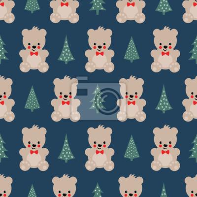 Fototapete Teddy Bear mit Weihnachten Bäume nahtlose Muster auf dunkelblauem Hintergrund. Cute vector Hintergrund mit Jungen Teddybär und Weihnachtsbaum. Design für Druck auf Baby-Kleidung, Textil-, Tapeten, Sto