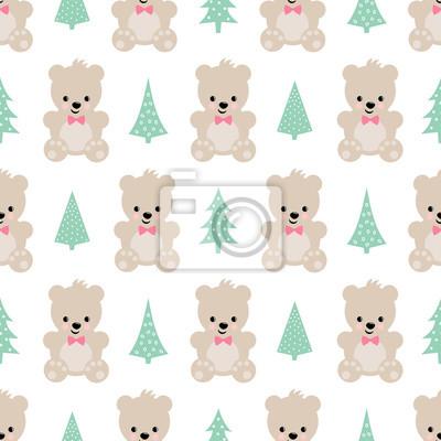 Fototapete Teddy Bear mit Weihnachten Bäume nahtlose Muster auf weißem Hintergrund. Cute vector Hintergrund mit Jungen Teddybär und Weihnachtsbaum. Design für Druck auf Baby-Kleidung, Textil-, Tapeten, Stoff.