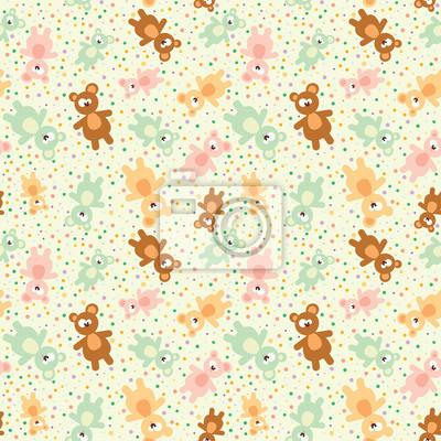 Teddybär nahtlose Muster auf Gelb