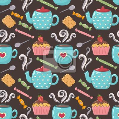 Tee süß nahtlose Muster.