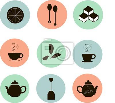 Tee-symbole, schwarze markierungen auf den roten, blauen, grünen ...