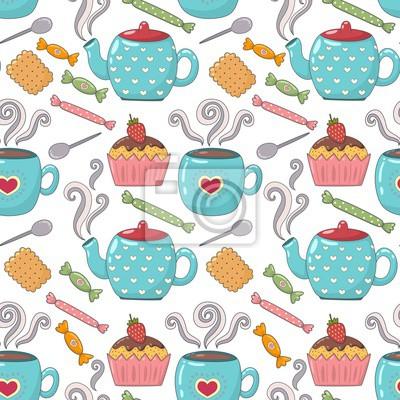 Tee Zeit niedlichen nahtlose Muster mit Teetassen, Teekannen und Süßigkeiten