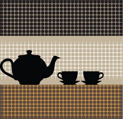Teekanne und Tassen Abbildung