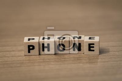 Telefon in der Holzwürfel