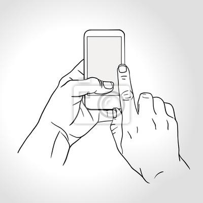 Telefon Touch-Gesten. Berühren Sie den Bildschirm