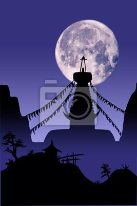 Temple sur bouddhiste lune