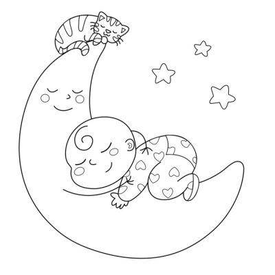 Fototapete Tenera luna che con bebè dorme
