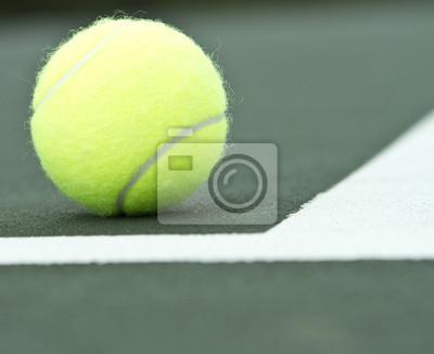 Tennis Ball Close up inside Tennis Court