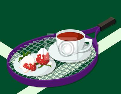 Tennis Erdbeere und Tee Breafast