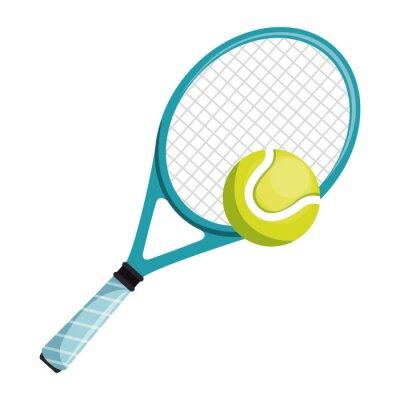 Tennisschläger und -ball lokalisierten Ikonenvektor-Illustrationsdesign