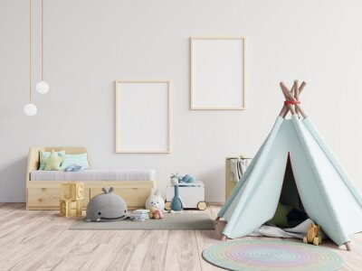 Fototapete Tent With Toys Against Blank Picture Frames At Home