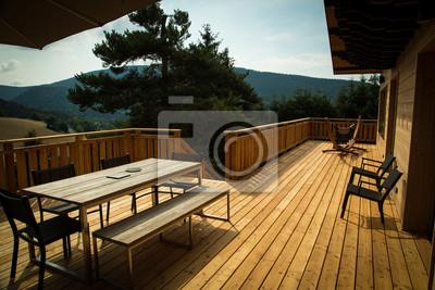 Terrasse de chalet en bois fototapete • fototapeten Hitze, Wald ...