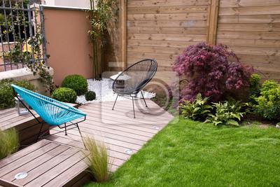 Terrasse et jardin moderne, münze zen fototapete • fototapeten ...