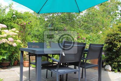 Terrasse fleurie avec salon de jardin fototapete • fototapeten ...