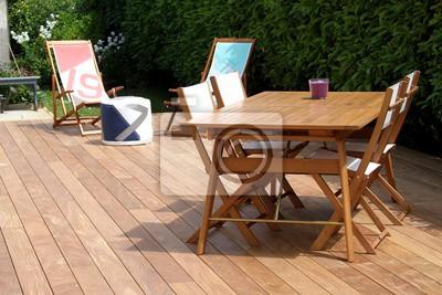 Terrasse und bois exotique und salon de jardin fototapete ...