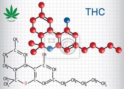 Fototapete Tetrahydrocannabinol Thc Strukturelle Chemische Formel Und