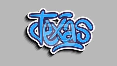 Texas Usa Hand Lettering Sticker Vector Design.
