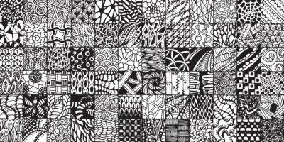 Fototapete Textur mit schwarzen und weißen Quadraten im Stil zentangl lackiert