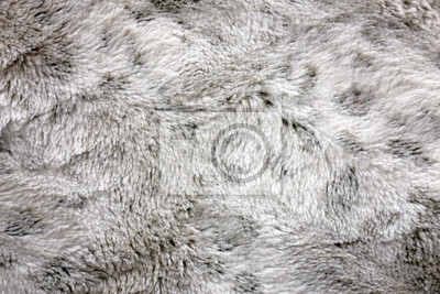 Fototapete Textured Background of White and Grey, Soft and Cozy Faux Fur Blanket